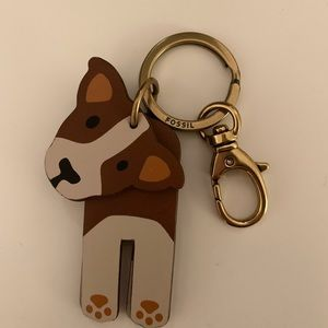 Authentic Fossil Dog Keychain